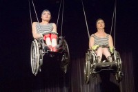 "Löffler mit Cornelia Scheuer, links, in ""I Move Like A Disabled Person"""